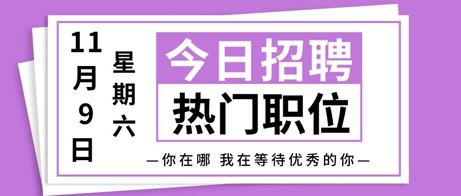 【天津招聘】11月9日今日新增热门职位