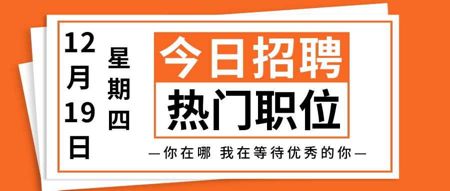 【天津招聘】12月19日今日热门推荐职位