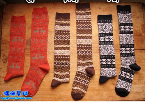 优衣库风格女士中筒长袜子 羊毛棉线长短靴袜